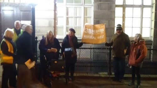 Protest outside Wallasey Town Hall side door 28th November 2016 38 Degrees Wirral West over NHS Sustainability and Transformation Plan