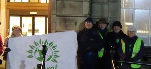 Protest outside Wallasey Town Hall 28th November 2016 Green Party over NHS Sustainability and Transformation Plan