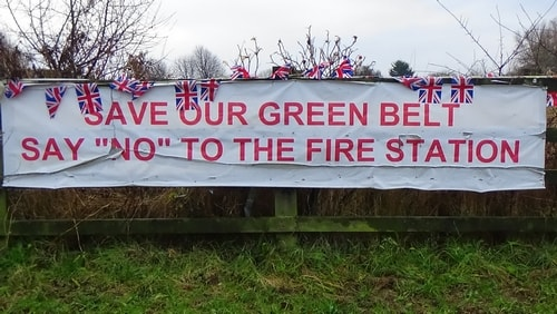 photo 12 Land off Saughall Massie Road Saughall Massie 13th December 2016 SAVE OUR GREEN BELT SAY NO TO THE FIRE STATION banner