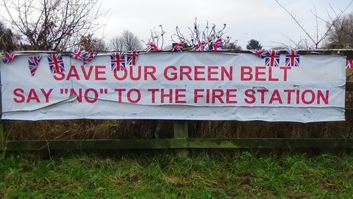 Land off Saughall Massie Road Saughall Massie 13th December 2016 SAVE OUR GREEN BELT SAY NO TO THE FIRE STATION banner