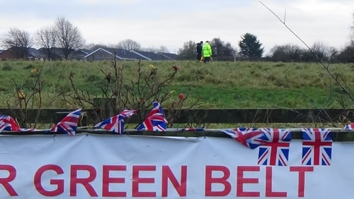 photo 5 Land off Saughall Massie Road Saughall Massie 13th December 2016 SAVE OUR GREEN BELT SAY NO TO THE FIRE STATION banner