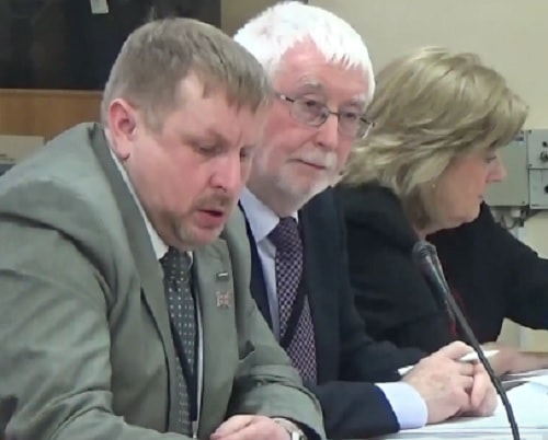 Cllr Stuart Whittingham (Cabinet Member for Transport) (left) about to speak on the Budget proposals 20th February 2017