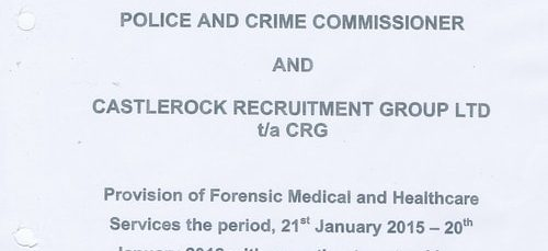 What's in a ~500 page contract between the Police and Crime Commissioner for Merseyside and CRG for a private company to provide detained persons and officers healthcare and medical services?
