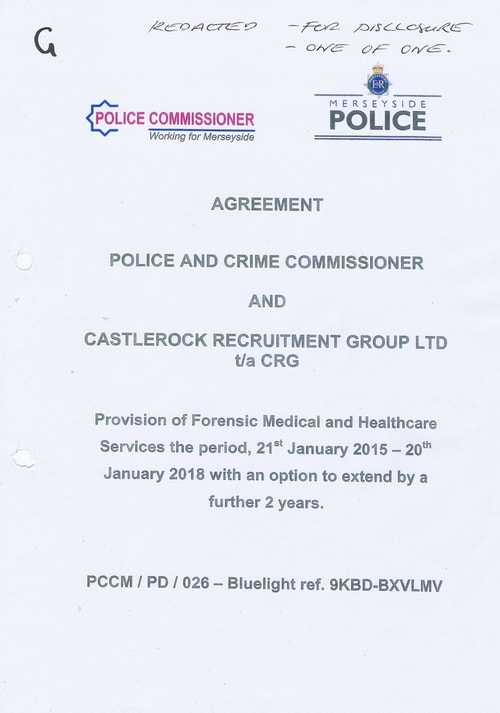 contract Police and Crime Commissioner for Merseyside and Castlerock Recruitment Group LTD t a CRG 1