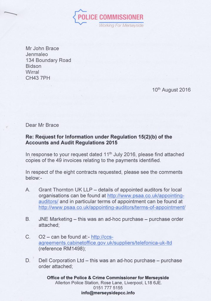 letter Police Crime Commissioner for Merseyside citizen audit 2015-16 page 1 of 2