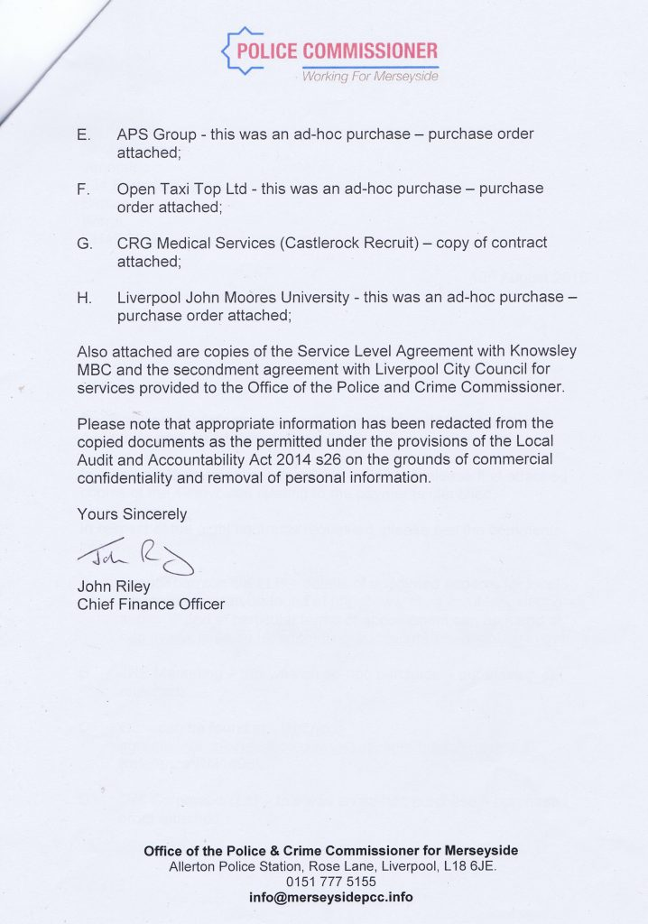 letter Police Crime Commissioner for Merseyside citizen audit 2015-16 page 2 of 2