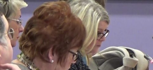 Councillor Lesley Rennie (background left) at a meeting of Merseyside Fire and Rescue Authority 26th January 2017 discussing Hot News