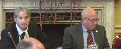 Constitutional Issues Committee (Liverpool City Council) 9th May 2017 left Chris Walsh right Cllr Alan Dean