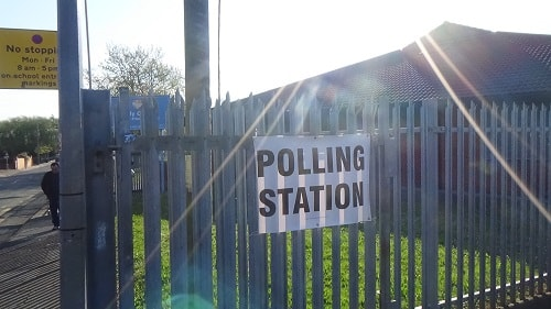 Holy Cross primary school Bidston polling station Bidston St James 4th May 2017 resized