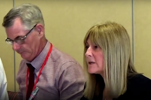 Merseyside Fire and Rescue Authority 25th May 2017 left Cllr Dave Hanratty (Chair) right Janet Henshaw (Clerk to the Authority)