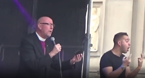 Bishop of Liverpool (Rt Revd Paul Bayes) address before Liverpool Pride march 29th July 2017 outside St Georges Hall Liverpool