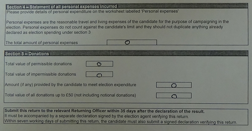 Candidate election expenditure Labour byelection page 2 section 4 section 5