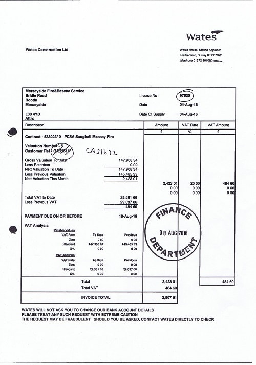 Wates Construction Ltd invoice August 2016 Merseyside Fire and Rescue Service resized