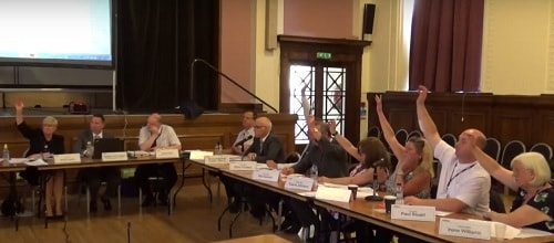 Wirral Council's Planning Committee 20th July 2017 voting to approve planning application APP/17/00306 (Saughall Massie fire station)