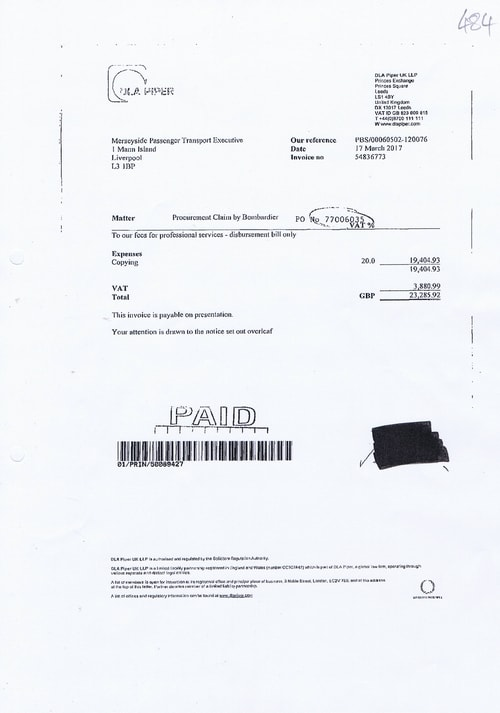 DLA Piper LLP invoice 484 Merseytravel 17th March 2017 £23285.92