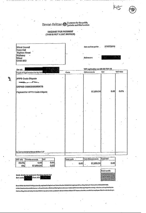 Bevan Brittan invoice APPS case land charges refund