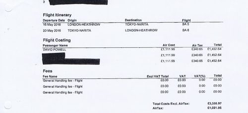 Merseytravel invoice Key Travel £4357.92 flights London to Tokyo April 2016
