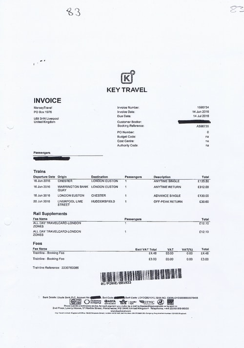 Merseytravel invoice Key Travel £607.31 train journeys police June 2016