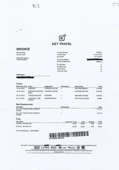 Merseytravel invoice Key Travel £683.38 train journeys David Brown March 2016