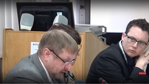 Cllr Stuart Whittingham (left) proposing altered recommendations Cabinet 6th November 2017