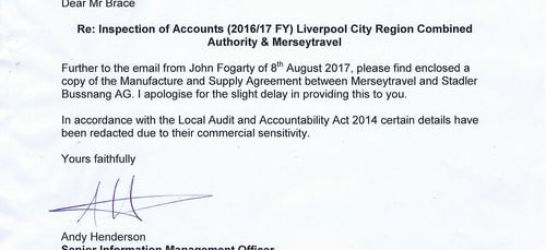 What's in 143 pages of the contract between Merseytravel and Stadler Bussnang AG for new trains that caused the strike?