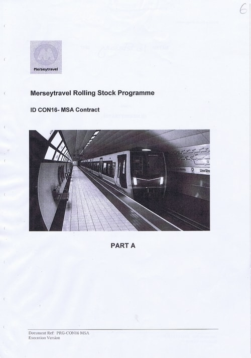 2 Cover Page Merseytravel Rolling Stock Programme ID CON16 MSA Contract PART A
