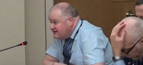 David Ball (left) explains about the judicial review to the Planning Committee (Wirral Council) 18th January 2018
