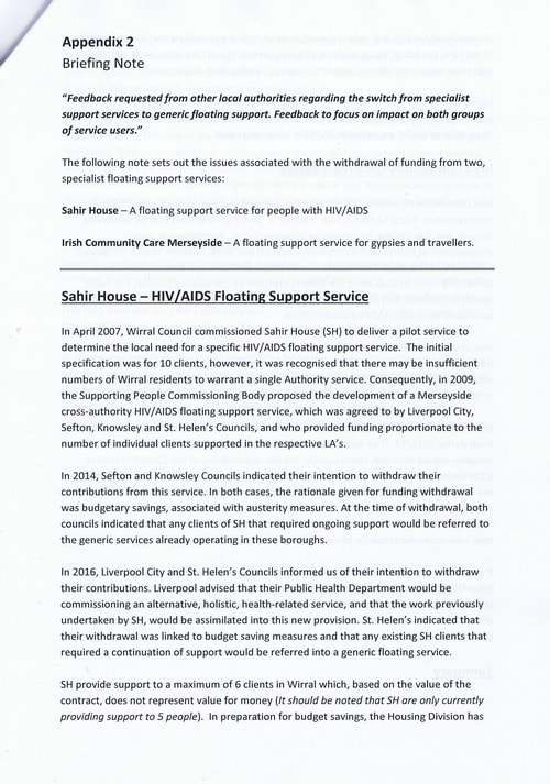Budget Scrutiny Workshop Page 10 of 16 Briefing Note Sahir House HIV AIDS Floating Support Service Wirral Council 2018-2019
