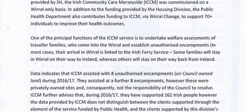 Budget Scrutiny Workshop Page 11 of 16 Briefing Note Irish Community Care Merseyside Wirral Council 2018-2019