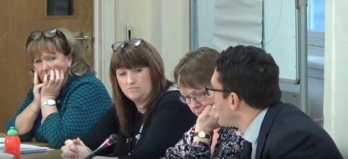 Cabinet (Wirral Council) 18th December 2017 L to R Cllr Bernie Mooney Cllr Angela Davies Cllr Chris Jones Cllr Phillip Brightmore