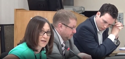 Councillor Janette Williamson left Cabinet Member for Finance and Income Generation middle Cllr Stuart Whittingham right Cllr Matthew Patrick Cabinet Wirral Council 19th February 2018