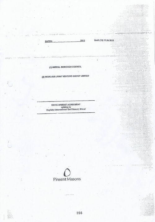 Hoylake Golf Resort contract cover page
