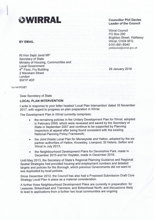 email Cllr Phil Davies Rt Hon Sajid Javid MP Local Plan 31st January 2018 Page 1 of 4