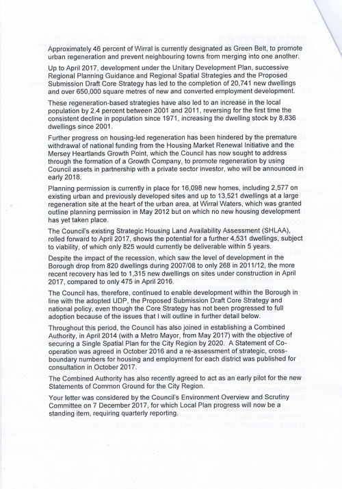 email Cllr Phil Davies Rt Hon Sajid Javid MP Local Plan 31st January 2018 Page 2 of 4