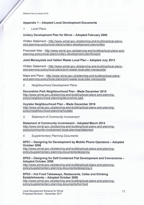 email Cllr Phil Davies Rt Hon Sajid Javid MP Local Plan 31st January 2018 attachment Local Development Scheme draft page 11 of 15
