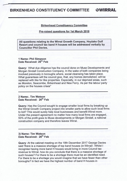 Birkenhead Constituency Committee (1st March 2018) questions page 1 of 4