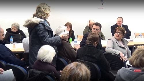Keren O'Rourke asking a question at the Birkenhead Constituency Committee about air pollution and Hoylake Golf Resort 1st March 2018 Wirral Deen Centre