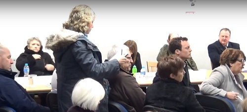 Photo 3 A member of the public asking a question about air pollution Birkenhead Constituency Committee 1st March 2018