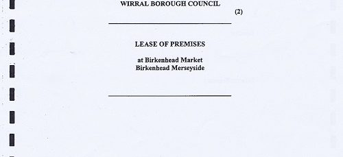 Birkenhead Market lease cover page Birkenhead Market Limited Wirral Borough Council page 1
