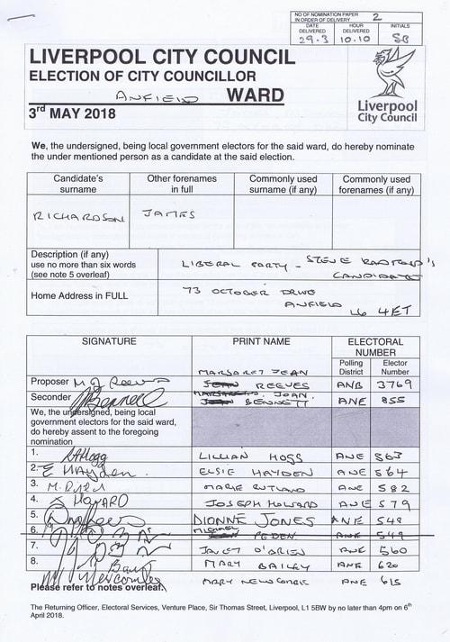 13 Anfield Richardson James NOM 2018 Liverpool City Council