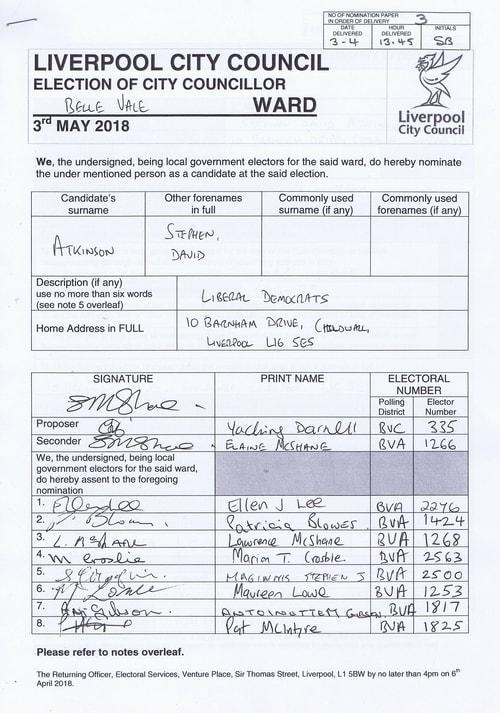 19 Belle Vale Atkinson Stephen David NOM 2018 Liverpool City Council