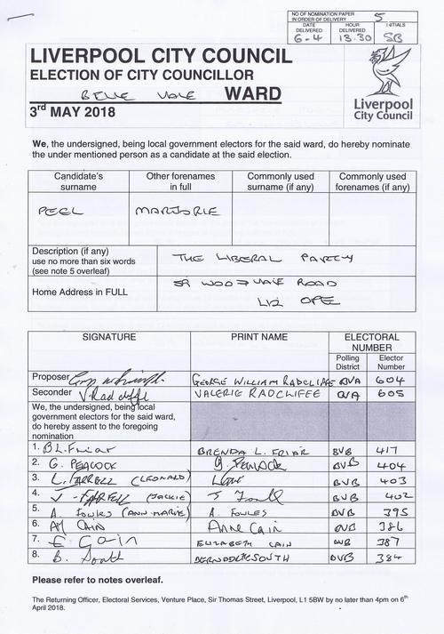 25 Belle Vale Peel Marjorie NOM 2018 Liverpool City Council