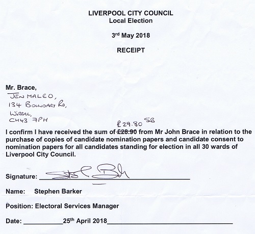 Liverpool City Council receipt 25th April 2018 copies nomination papers candidate consent to nomination