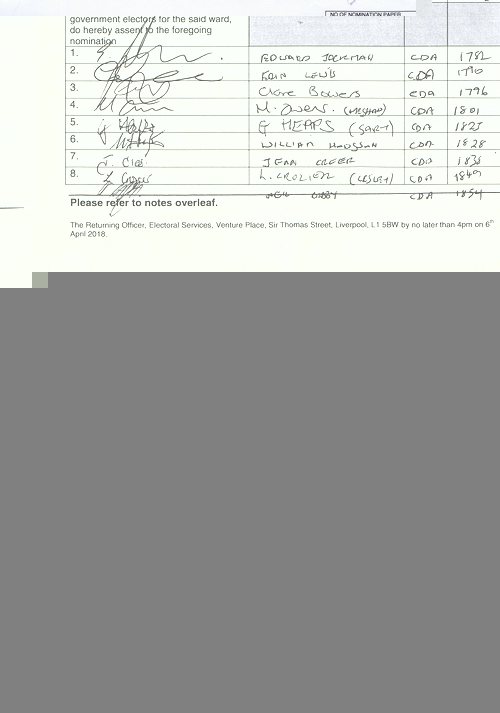 39 Childwall Wood Lindsay Janet Mary NOM 2018 Liverpool City Council