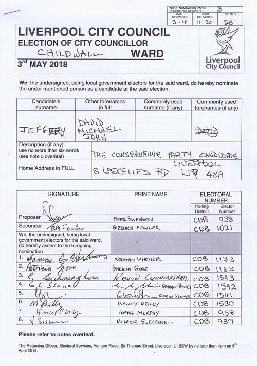43 Childwall Jeffrey David Michael John NOM 2018 Liverpool City Council