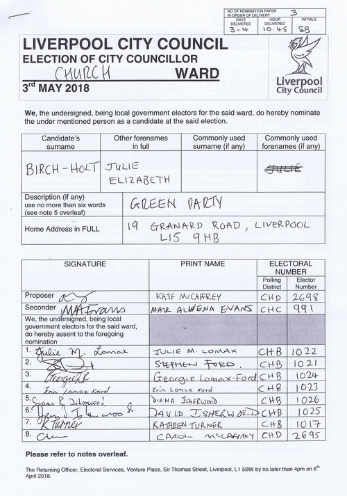 63 Church Birch Holt Julie Elizabeth NOM 2018 Liverpool City Council