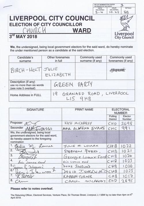 63 Church Birch Holt Julie Elizabeth NOM 2018 Liverpool City Council