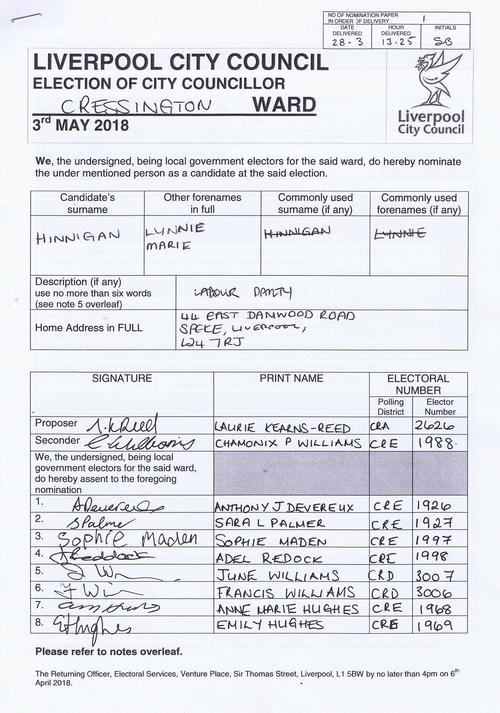 75 Cressington Hinnigan Lynnie Marie NOM 2018 Liverpool City Council
