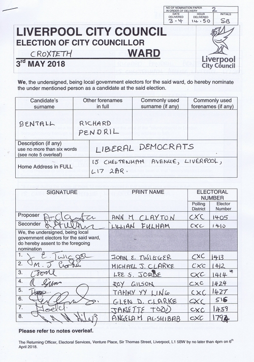 85 Croxteth Bentall Richard Pendril NOM 2018 Liverpool City Council