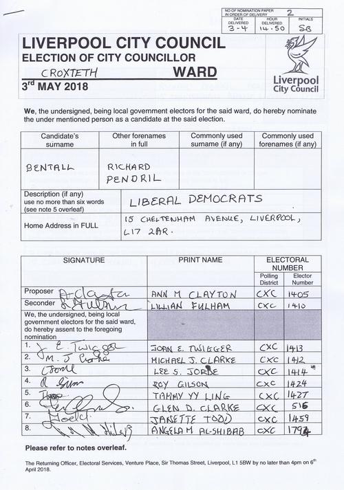 85 Croxteth Bentall Richard Pendril NOM 2018 Liverpool City Council